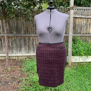 Houndstooth and Faux Leather Trim Skirt - 22WP